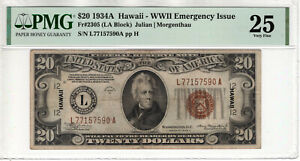 1934 A $20 FEDERAL RESERVE NOTE WWII EMERGENCY ISSUE FR.2305 PMG VF 25 (590A)