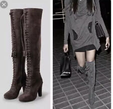 All Saints Stepney Thigh High OVER KNEE HEEL SUEDE Brown LEATHER BOOTS 40 UK 7