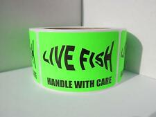 LIVE FISH silhouette HANDLE WITH CARE Sticker Label fluor green bkgd 250/rl