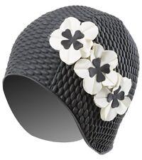 New Vintage Style Black Swim Bathing Cap Ivory Flowers Water Aerobics Adult