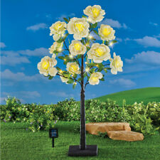 Solar Powered Lighted Yellow Rose Tree with Adjustable Branches Garden Sculpture