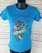 Ed Hardy Niña LOVE LIFE Camisa Azul PEDRERÍA FLORES Accesorio Camiseta XL
