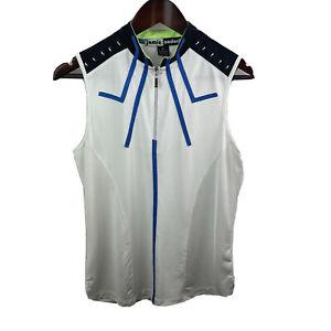 Jamie Sadock Women's Sz M White Blue Zip Neck Sleeveless Golf Shirt Art To Wear