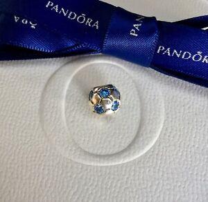 Authentic Genuine Pandora Silver Blue CZ Soccer Ball Charm #790444CZB