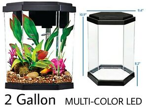 Top Fin® INTRIGUE Aquarium Kit - 2 Gallon Fish Tankw/MULTI-COLOR LED LIGHTS