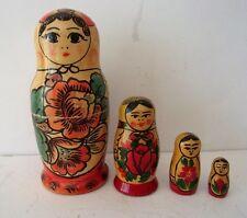 VINTAGE RUSSIAN NESTING DOLLS 4 PC #1403