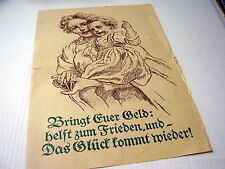 ORIG OLD PROPAGANDA-POSTER: BRINGT EURE GELD~BRING YOUR MONEY