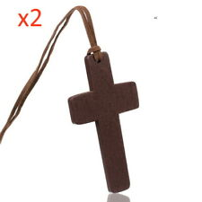 x2 Natural Wooden Crucifix Necklace Large Cross Symbol Soft Cord Religious Wood