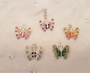 Cute Enamel & Crystal Butterfly Charm Mobile Phone Anti Dust Plug Earphone Jack