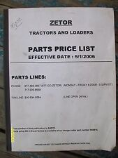 Rare Vintage Original 2006 Zetor Parts Price List Tractors, Loaders etc Thick