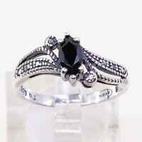 Sz 8.25, Vtg Sterling Silver Handmade Ring, 925 Band W Obsidian N Diamond