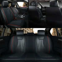 Black Luxury PU leather Car Seat Covers Front Rear Full Set wearproof Large base