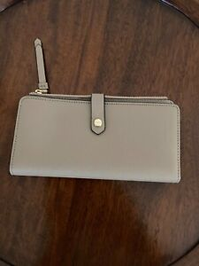 Calvin Klein Wallet Large Saffiano Leather Taupe Women