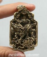"2.5"" Curio Chinese Bronze Animal Kylin Chi-lin Qilin nicorn Beast Amulet Pendant"