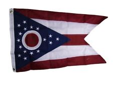 2x3 Embroidered State of Ohio OH 210D Sewn Nylon Flag 2'x3' 2 clips