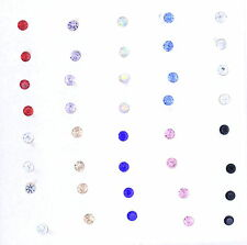 Super cute bundle. 20 pairs of mixed colour 1.5mm small crystal stud earrings