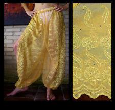 Harem Pants Belly Dance Gold w/ Gold Brocade Slit 2