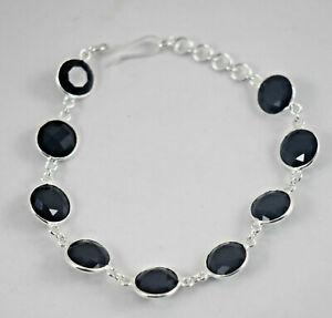 925 Sterling Silver Black Onyx Bezel Bracelet Women Gift Bridal BS-1075