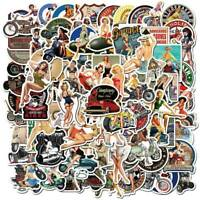 100Pcs Retro Vinyl Stickers for Laptop Skateboard Luggage Graffiti Wall Decals