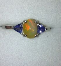 New Stunning Coober Pedy Jelly Opal & TanzanIte Sterling Silver Ring Size 9/P