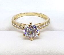 Lab-Created/Cultured Diamond Yellow Gold Fine Rings