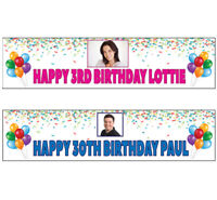 2 Personalised photo banners all Occasions Christening birthday party name age #