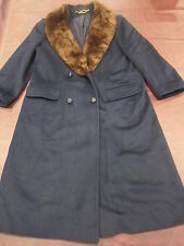 True VINTAGE Beaver Collar Navy Blue 100% WOOL LONG COAT Overcoat Leather button