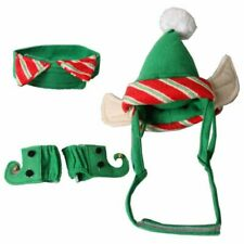 Christmas Pet Costume Neck Collar Leg Sleeve Cuffs Santa Hat For Dog Cat Pa