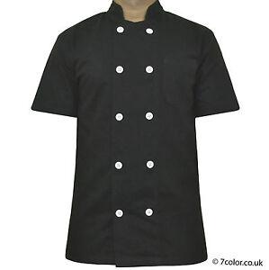 Short Sleeve Black Coat Unisex Chefs Jacket Wooden Plastic Button Jackets