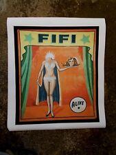 """"""" Headless Fifi """" Affiche de Freakshow imprimée sur Toile , Art Forain Sideshow"""
