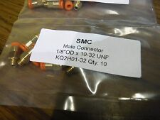 """QTY 10 SMC KQ2H01-32 one touch male air connector 1/8"""" OD X 10-32 UNF"""