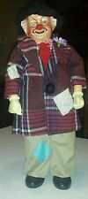 Vintage Brinn's 1986 Rare Hobo Clown Doll Collectible Red Nose Christmas