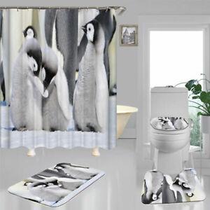 Cute Penguin Shower Curtain Bath Mat Toilet Cover Rug Bathroom Decor