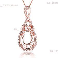 Semi Mount Oval 10x12mm Natural Diamond Pendant Solid 10K Rose Gold Fine Jewelry