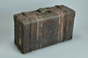 Grand Travellers' Victorian Solid Leather Brass Studded Trunk. CSF