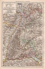 1896  LARGE ANTIQUE  MAP : GRAND DUCHY OF BADEN