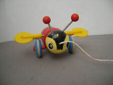Vintage Wooden Bumb Bee Pull Toy On Wheels