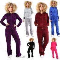 New Women's Ladies Velour Jogging Bottoms Hooded Sweatshirt Track Suit UK 6-24