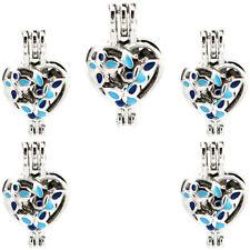 (5 Pack) Enamel Heart Butterfly Pearl Beads Cage Locket Pendant K994