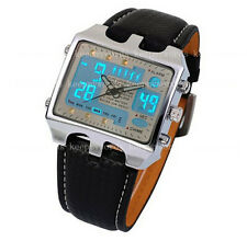 OHSEN Mens Army Military Digital Leather Chronograph Dual Time Zone Quartz Watch