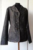 Blazer giacca di jeans nero giubbotto jacket tasche 44 L giacchetta denim black
