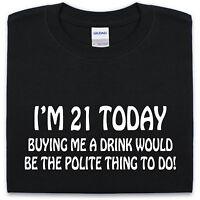 21ST BIRTHDAY T Shirt S-XXL Funny Joke Present Novelty Gift Mens Womens Drinking
