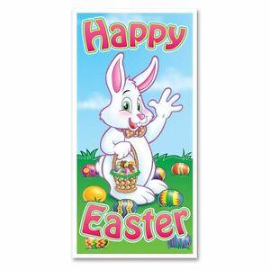 HAPPY EASTER DOOR COVER POSTER BANNER BUNNY EGGS BASKET RABBIT PARTY DECORATION