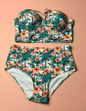 Hawaii Print Schulterfrei Neckholder Bralet High Waist 2 Teilige Bikini Set