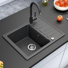 Spüle Küchenspüle Einbauspüle Spülbecken+Drehexcenter+Siphon Schwarz