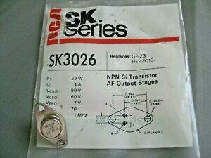 RCA SK3026 Transistor, SK Series NPN Si AF output stages New Old Stock c. 1980