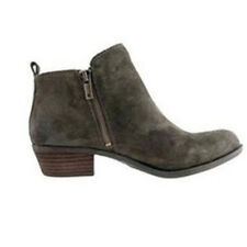 Womens Ankle Boots Low Mid Block Heels Leather Suede Chelsea Zip Up Shoes Size