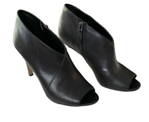 Franco Sarto Peep Toe Booties Tiff Womens Size 8 Black Leather Heeled Boots