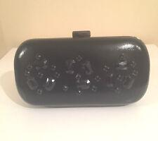 NEW Black Embellished Diamante Hard Case Evening Party Wedding Box Clutch Bag