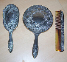 Beautiful Vintage Believed to be Silver Plated Mirror ~ Brush ~ Comb
